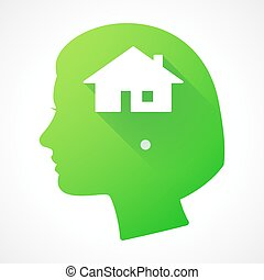 Female head silhouette icon with a house