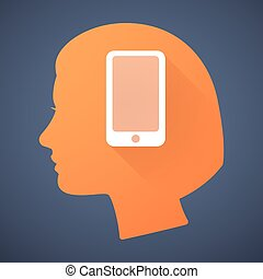 Female head silhouette icon with a phone