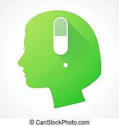 Female head silhouette icon with a pill
