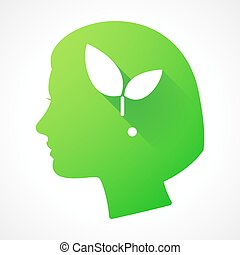 Female head silhouette icon with a plant