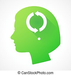 Female head silhouette icon with a recycle sign