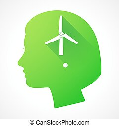 Female head silhouette icon with a wind generator