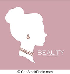 Female head silhouette with pearls. Beaty care. Jewelry shop adverticing template.