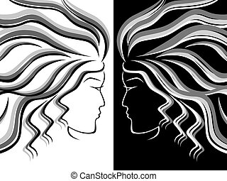 Female head silhouettes - Black, white and grey silhouettes...