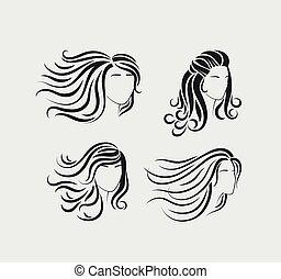Female head silhouettes with long hair