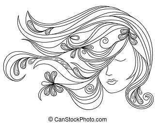 Female head with flowing hair