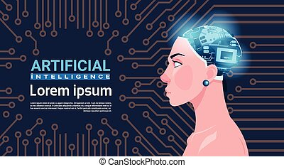 Female Head With Modern Cyborg Brain Over Circuit Motherboard Artificial Intelligence Concept
