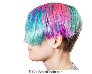 female head with multi colored dyed hairs on white ...