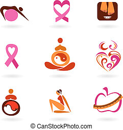 Female health icons - Collection of female health awareness...