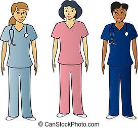 Female Health Pros in Scrubs - Three female healthcare...