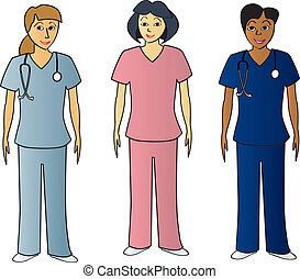Female Health Pros in Scrubs - Three female healthcare...