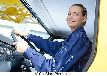 Female heavy goods driver