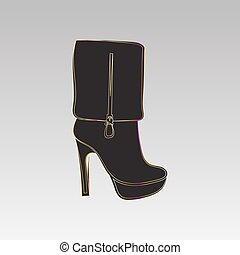 Female high-heeled boots. Black pattern on a gray...