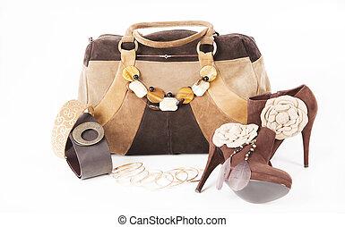 Female high-heeled boots and beautiful bag - Female...