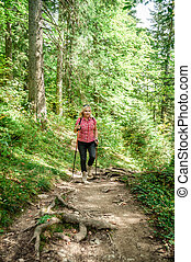 female hiker in an austrian forest