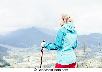 Female hiker in mountains