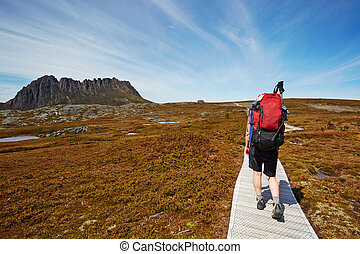 Female hiker on the Overland Trail, Cradle Mountain, Tasmania