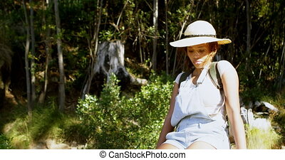 Female hiker relaxing in countryside 4k - Female hiker ...