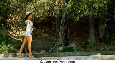 Female hiker walking at countryside 4k - Side view of female...