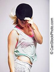 Female Hip Hop Dancer Isolated on White