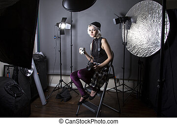 Female Hipster Photographer Drinking Coffee - Female...