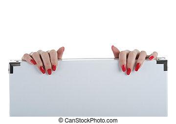 Female holding a blank billboard