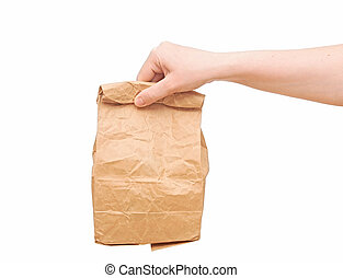 female holding a brown paper bag with contents in his hand