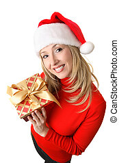 Female holding a Christmas present
