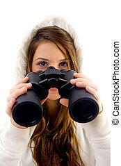 female holding binocular on an isolated white background