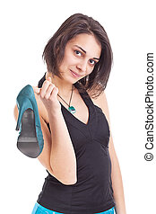 Female holding her new shoe