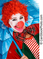 Female holiday clown - Colorful dressed female holiday clown...