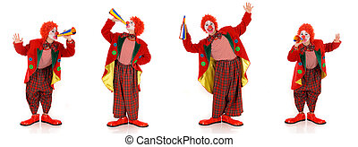 Female holiday clown - Colorful dressed female holiday, ...