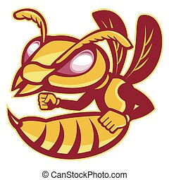 female-hornet-oval - vector illustration of an angry female...