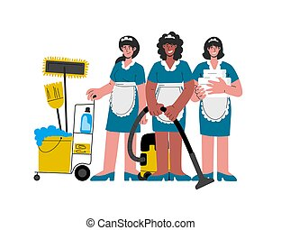Female hotel maids in uniform with a vacuum cleaner, pushing trolley cart,clean linens for the room.Vector illustration.