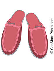 Female house slippers - Illustration of pair red female...
