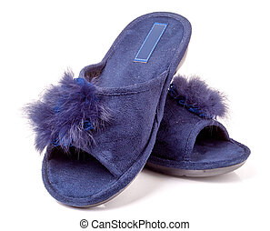 female house slippers with fur on white background