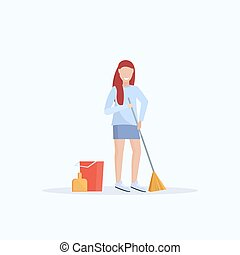 female housewife holding broom woman cleaner sweeping floor cleaning service housekeeping concept full length flat white background