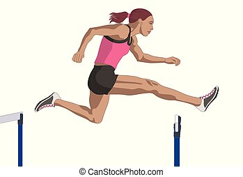 female hurdler jumping over hurdle isolated on a white background