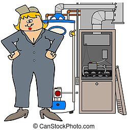 Female HVAC technician - This illustration depicts a woman...