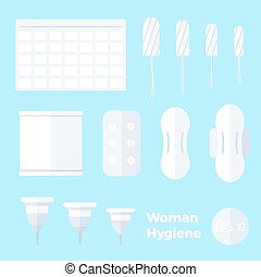Kinds of pads, tampons, menstrual cups in flat style.
