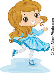 Female Ice Skater - Illustration of a Young Female Ice...