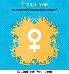 female icon. Floral flat design on a blue abstract background with place for your text. Vector
