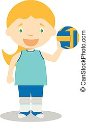 (female), illustrations:, sports, vecteur, voleyball, dessin...