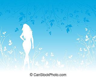 Female in flowers