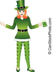 Female in Green Leprechaun Costumes Illustration