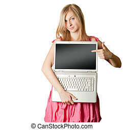 female in pink with open laptop