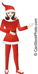 Female in Red Santa Suit Illustration