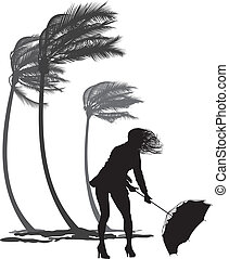 woman rebuttal umbrella and trees palms in the wind