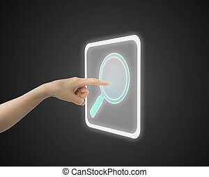 Female index finger touching search icon button