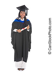 female indian graduate isolated on white background full body and siolated on white background